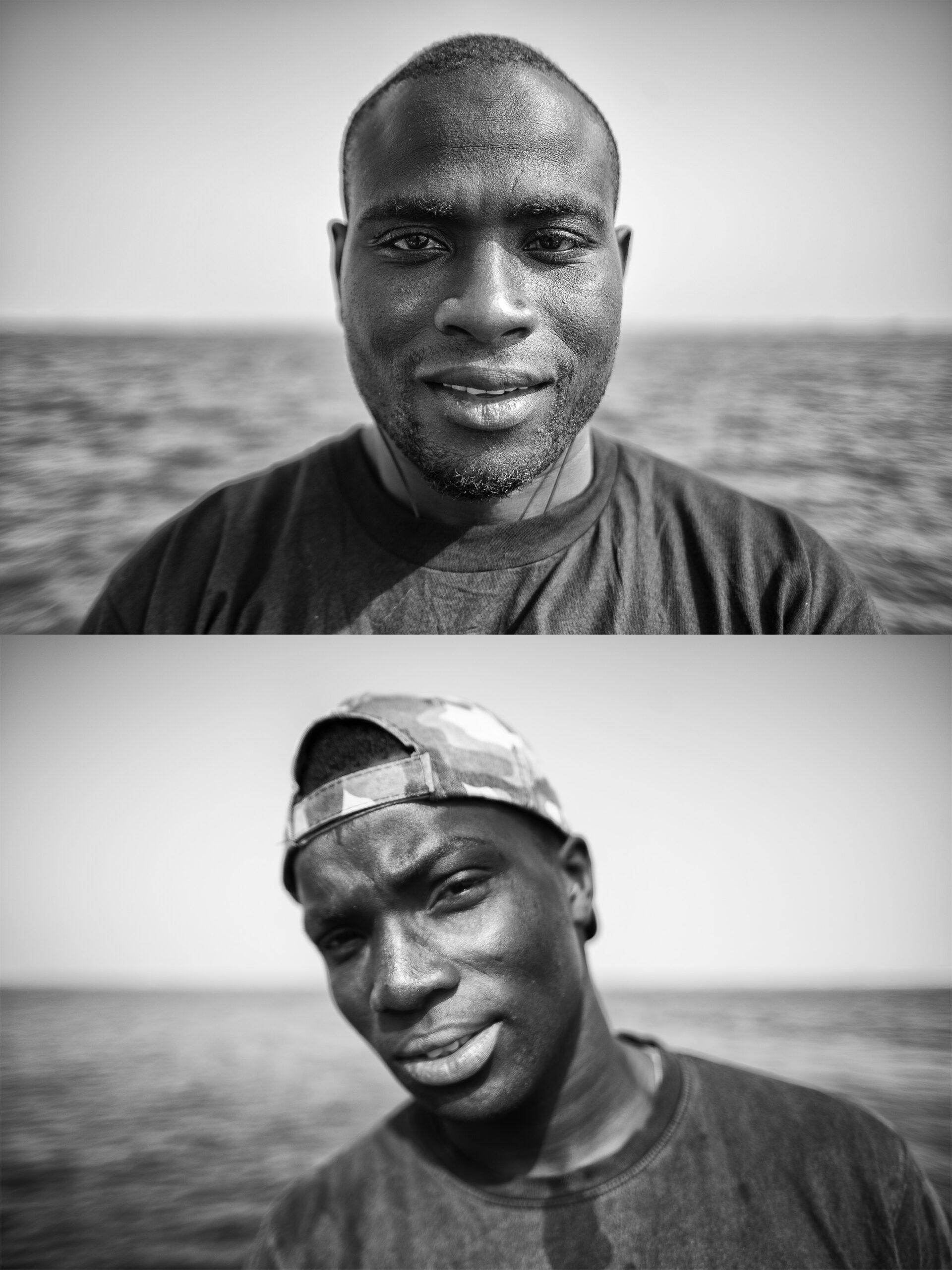 Primer Premio. Categoría: Mejor trabajo en el exterior (Serie). Retratos de dos marineros senegaleses pertenecientes a la tripulación de un atunero de bandera española con base en Dakar, Senegal. Según datos del gobierno Senegalés el 17% de su población activa trabaja en el sector pesquero. Nando Rivero